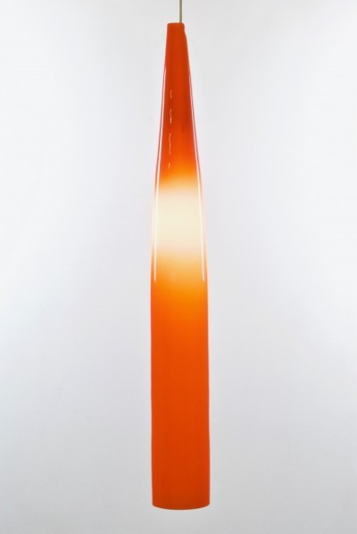 Orange hanging lamp by Alessandro Pianon for Vistosi Murano Italy, 1956