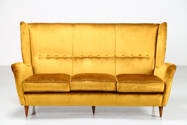 Velvet fabric sofa by Gio Ponti for Arredamenti ISA Bergamo, 1950s