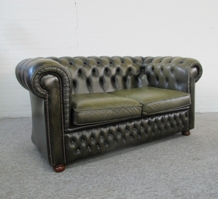 Original English Chesterfield Sofa in green leather, 1970s