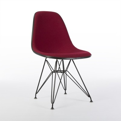 Original Herman Miller Red Upholstered Eames DSR Dining Side Chair