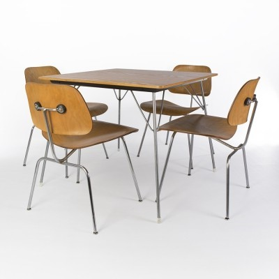 Original Evans Eames DTM-20 Table With Eames Calico Ash DCM Dining Chairs
