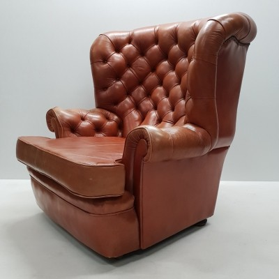 Cognac Pegasus leather wing chair by Whittle Brothers of Warrington