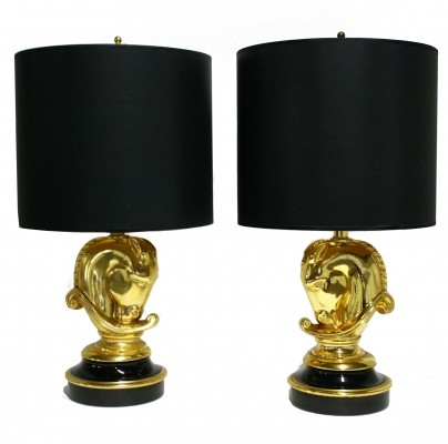 Pair Of Hollywood Regency Brass Horse Head Table Lamps by DeKnudt, Belgium 1970s