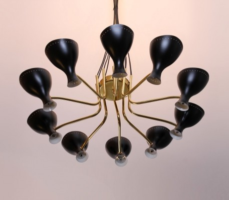 Very rare brass Italian style chandelier by J. Hoogervorst for Anvia Almelo, 1950