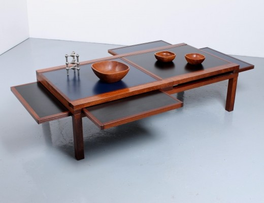 Modular 'Hexa Iroko' table with blue & black pull-out shelves by Bernard Vuarnesson for Belatto