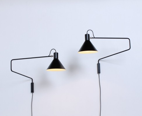 2 x Elbow paperclip wall lamp by J. Hoogervorst for Anvia Almelo, 1950s