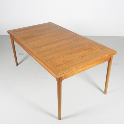 Kaj Winding large teak adjustable dinner table model 16, 1960's