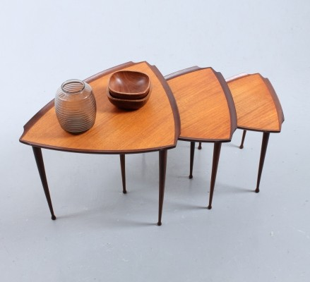 Triangular teak nesting tables by Poul Jensen for Selig Denmark, 1950s