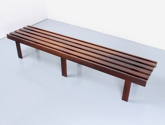 Dutch design slatted museum bench in wenge wood