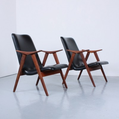 Pair of arm chairs by Louis van Teeffelen for Wébé, 1950s