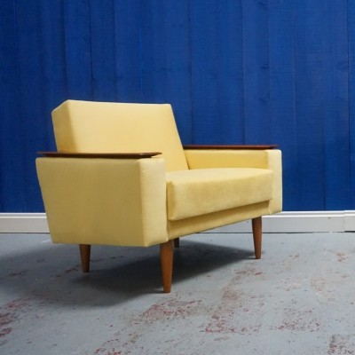 Mid Century Danish Lounge Club Chair in Yellow