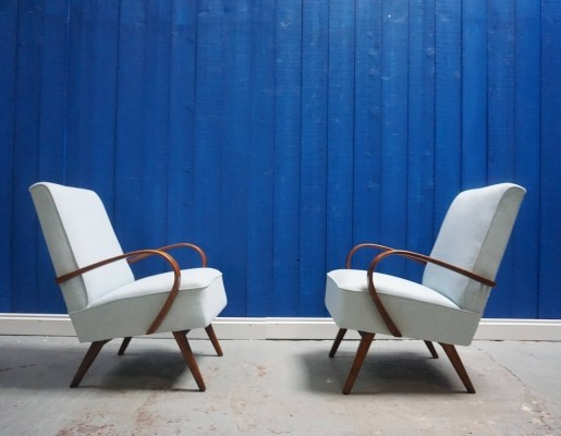 Pair of Model 53 Bentwood Armchairs in Light Blue by Jaroslav Smidek for Thonet, 1950s