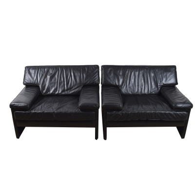Black leather Artifort lounge chairs, 1970s