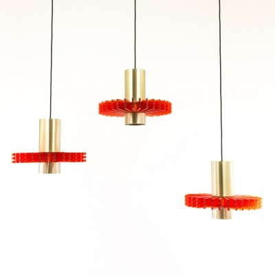 Set of three pendants by Claus Bolby for Cebo Industri, 1960s