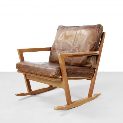 Danish design Oak rocking chair with leather cushions, 1960s