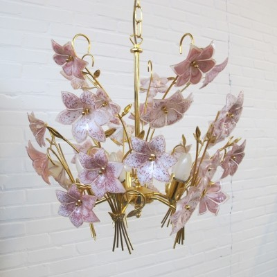 Italian vintage flower hanging lamp with Murano glass, 1970s