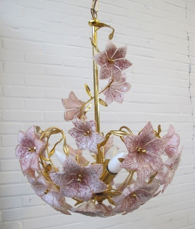 Italian vintage flower hanging lamp in Murano glass, 1970s