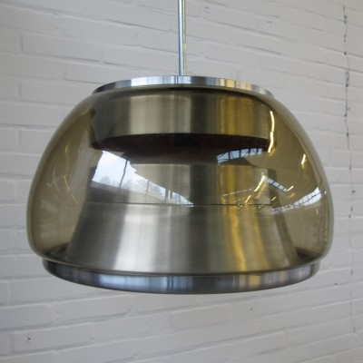 Vintage aluminium & glass hanging lamp, 1960s