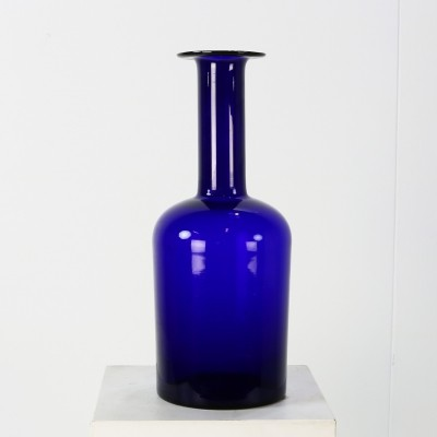 Largest model blue glass vase by Otto Brauer for Holmegaard