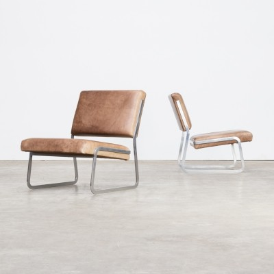 Pair of Paul Sumi steel framed leather lounge chairs for Lübke & Rolf, 1960s