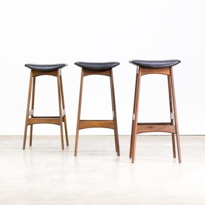 Set of 3 Johannes Andersen bar stools for J. Skaaning & Son & Brdr. Andersen, 1950s
