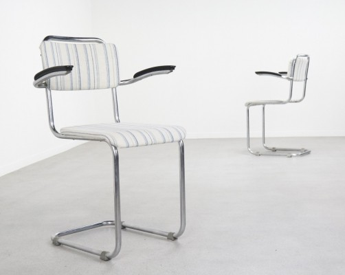 Pair of early 201 cantilever dining chairs by W. Gispen for Gispen, 1930s