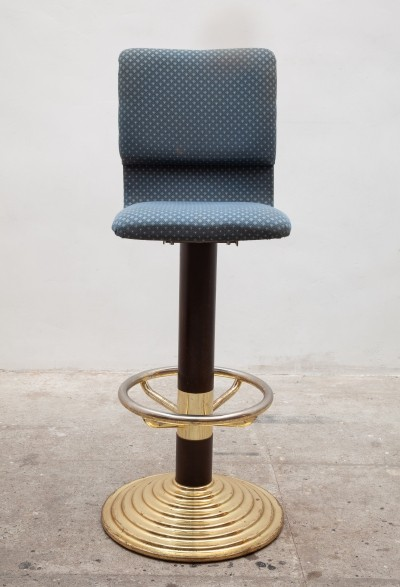Set of 12 High Brass Bar Stools with Footrest, 1980s