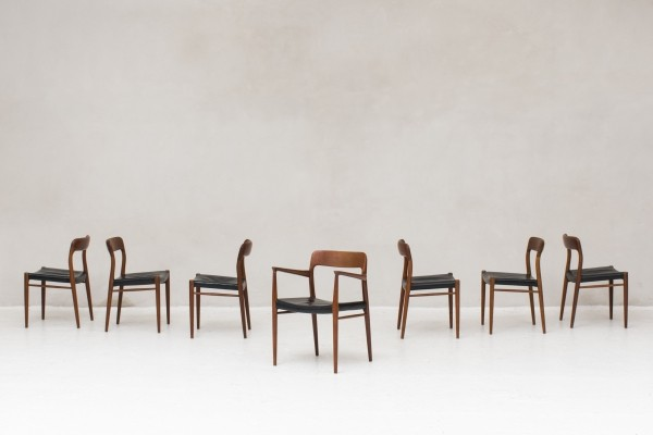 7 dining chairs by Niels O. Moller for J.L. Moller, Denmark 1950s
