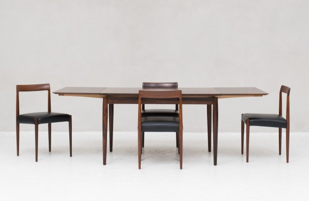 Rosewood extendable table & 4 dining chairs by Lübke, Germany 1960s