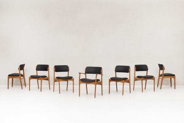 7 dining chairs by Erik Buck for O.D. Mobler, Denmark 1960s