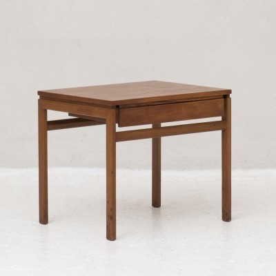 Solid teak frame & teak veneer Side table, Denmark 1960s