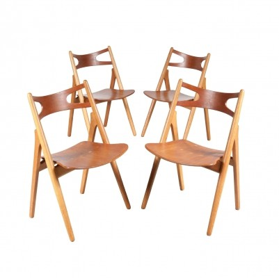 Set of Four CH29 Sawbuck Dining Chairs by Hans J. Wegner for Carl Hansen & Son