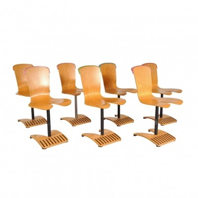 Rare Set of Seven Stacking Chairs by Ruud Jan Kokke, Netherlands 1980s