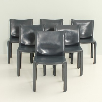 Set of Six Cab Chairs by Mario Bellini in Dark Blue Leather