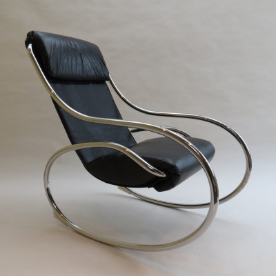 Chrome & Black Leather Sculptural Rocking Chair by Heals, 1970s