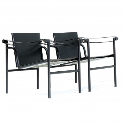 Pair of LC1 arm chairs by Le Corbusier for Cassina, 1980s