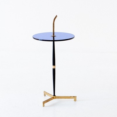 Blue Glass, Black Iron & Brass Table, Italy 1950s