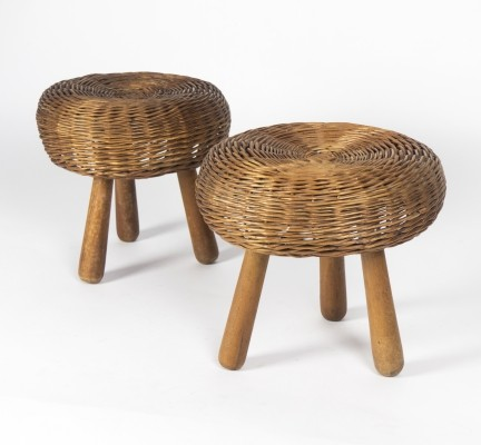 Pair of Wicker Stools by Tony Paul, 1950s