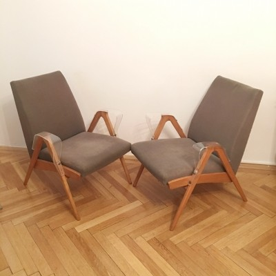 Pair of Vintage Armchairs by Frantisek Jirak for Tatra Nabytok Pravenec, 1960s