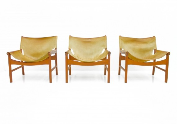 Rare Set of Three Lounge Chairs 103 by Illum Wikkelsoe, Denmark 1972