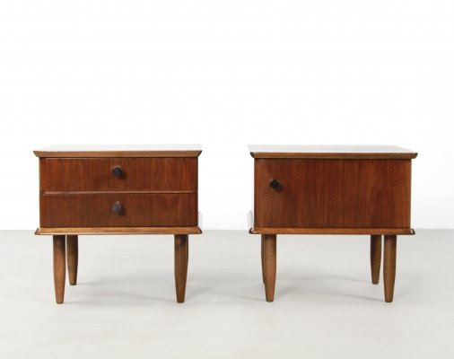 Pair of vintage dutch design bedside tables, 1960's