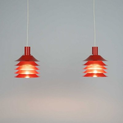 Danish design multi layered red metal hanging lamps, 1970's