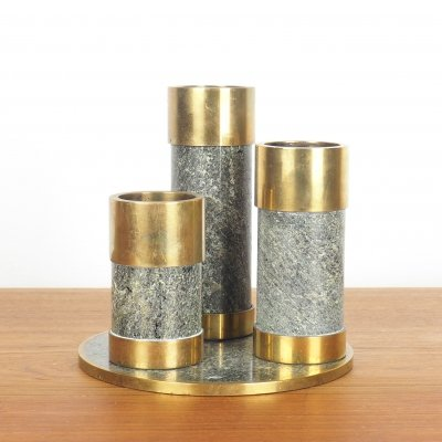 Vintage Saulo candleholders in polished stone & brass, 1970's