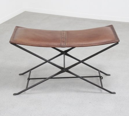 French wrought iron & leather bench, 1960s