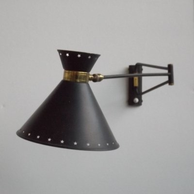 Diabolo wall lamp by René Mathieu for Lunel, 1950s