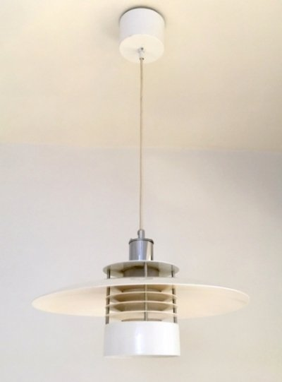 White Danish pendant lamp by Borens, 1960s