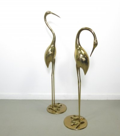 Set of 2 brass cranes by superbrass, 1970s