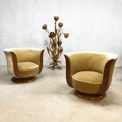 Set of 2 art deco Tulip lounge chairs for hotel 'Le Malandre'