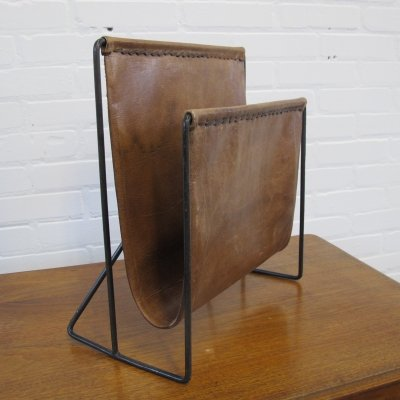 Vintage Leather & metal Magazine Holder, 1960s