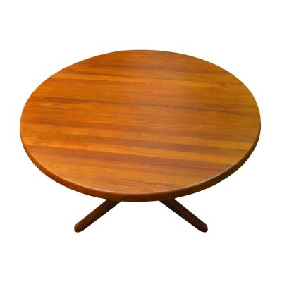 Danish solid teak round coffee table, 1970s